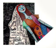 """Tim Burton inspired artwork -- students will create their own character, and reveal a wordcloud behind describing their character. Art Education Daily: """"Cute, But Not Too Innocent"""" Art Unit Lesson Plan"""
