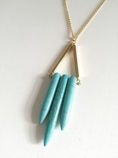 Tribal Turquoise Spike Necklace