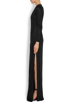Givenchy|Robe longue du soir en jersey de satin noir|NET-A-PORTER.COM