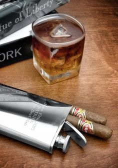 Stainless Steel Flask and Cigar Holder -- great gift for the men in my life