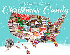 Christmas candy map of America gives the top candy in each state during the Christmas holiday season. Is your state reindeer corn or candy canes? Christmas Sweets, Christmas Candy, Christmas And New Year, Winter Christmas, Merry Christmas, Top Candy, Bulk Candy, Chocolate Santa, Fantasy Magic