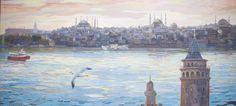 İstanbul'da Sabah / Morning in #Istanbul by Yavuz Saraçoğlu, 110cm x 50cm   #gallerymak #sanat #ig_sanat #yagliboya #peyzaj #manzara #deniz #osmanlı #gununfotografi #sergi #tarih #sultanahmet #galata #ayasofya #hagiasophia #bluemosque #resim #landscape #nature #sea #painting #oilpainting #artlover #artcollector #artgallery #ottoman #Oiloncanvas #istanbul