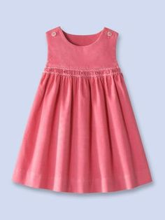 Velvet corduroy dress, sounds and looks divineCute, tiny bit of smockingLucy top cut mid yoke and smocked skirt addedAnother Great Find On ZulilyLove the pleat effect Little Dresses, Little Girl Dresses, Cute Dresses, Girls Dresses, Denim Dresses, Kids Frocks, Frocks For Girls, Girl Dress Patterns, Sewing Patterns Girls