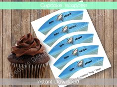 Shark Cupcake Wrappers Shark Digital Cupcake Wrappers Shark Birthday Party Decoration INSTANT DOWNLOAD by KreativeDesignIdeas on Etsy Shark Cupcakes, Cupcake Wrappers, Birthday Party Decorations, Happy Birthday, Digital, Unique Jewelry, Handmade Gifts, Etsy, Party Ideas