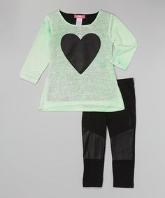 Look at this #zulilyfind! Lime Heart Burnout Top & Leggings - Infant & Toddler by Girls Luv Pink #zulilyfinds