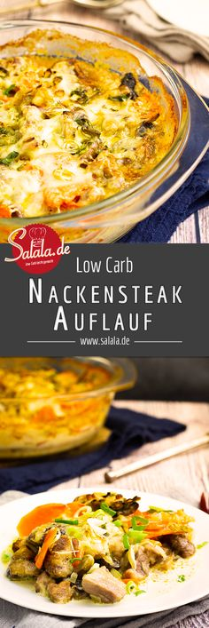 Juicy and greasy pork neck casserole with lots of flavor and taste. Fits very well into the persistent winter and warms heart and soul neck stock – by salala.de – Low carb casserole recipe with mushrooms carb Healthy Food Blogs, Healthy Diet Recipes, Low Calorie Recipes, Pork Recipes, Lunch Recipes, Steak Casserole, Casserole Recipes, Low Carb Casseroles, Low Carb Lunch