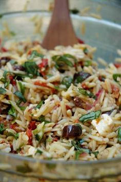 Orzo Salad with Sun-Dried Tomatoes, Roasted Peppers, Black Olives, and Feta Cheese