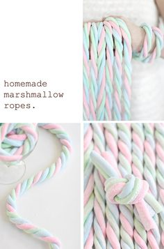Sprinkle Bakes: Homemade Marshmallow Ropes- how cute to decorate with! Fun for cake decorating, and treats for the kids! Recipes With Marshmallows, Homemade Marshmallows, Homemade Candies, Marshmallow Recipes, Cupcakes, Cupcake Cakes, Bundt Cakes, Yummy Treats, Delicious Desserts