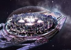 Story inspiration for sci-fi writers. A space-city drifts towards an unknown nebula