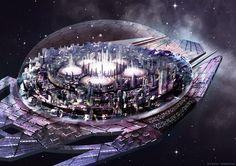 Story inspiration for sci-fi writers. A space-city drifts towards an unknown nebula Space Fantasy, Fantasy City, Futuristic City, Futuristic Architecture, Sci Fi Stadt, Science Fiction Kunst, Sci Fi City, Space City, Sci Fi Ships