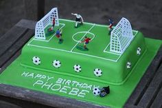 soccer birthday cake. I'd like this top on a Lego cake with sides rolled up to show the layers of Legos, and Lego people playing soccer.