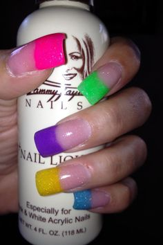 NAILS BY JANE, TAMMY TAYLOR COLORED ACRYLIC PRIZMA NAILS.   I call these my SKITTLES NAILS