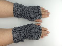 Fingerless Gloves Hand Knit   Fashion  Winter Trend by toppytoppy, $19.99