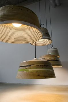 German designer Michael Wolke has created the Beute pendant lamps from discarded cardboard.