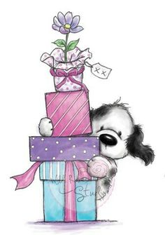 Tilly with presents wild rose studio cute drawings, birthday Cartoon Drawings, Cute Drawings, Animal Drawings, Dog Clip Art, Blue Nose Friends, Cute Clipart, Birthday Images, Birthday Quotes, Marianne Design