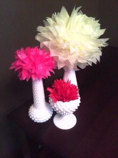 Centerpiece Mock-Up- Tissue Paper Dahlias and Milk Glass -- or use real flowers in cute little vases on the table or shelves
