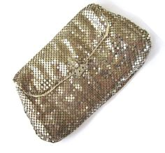 Silver-Tone Mesh Envelope Clutch Purse with Rhinestone Clasp found on Ruby Lane