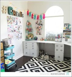 Craft Storage Ideas - inspire. organize. create. - Craft Storage: Craft Room Tour - American Crafts Design Team Member - Heather Leopard's Newly Remodeled Craft Space