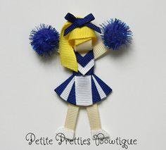 Boutique Custom Cheerleader Hair Clip by petitepretties on Etsy, $6.00