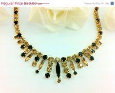 CLeARaNcE SaLE: Vintage Black & Honey Amber Rhinestone Necklace. Unsigned Designer. Sparkly. on Etsy, $18.00