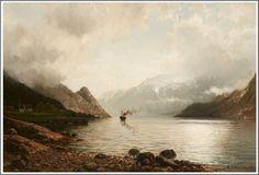 Anders Askevold (1834–1900), Le bateau à vapeur sur le Fjord - 1887