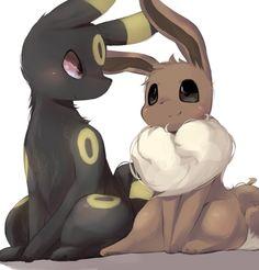 Umbreon & Eevee <<< adorable art