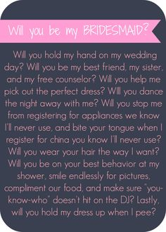 Will you be my bridesmaid letter - Lip Gloss and High Heels #wedding #printable #diy