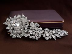 Rose Side Accented Comb, Floral  hair comb, Crystal hair comb, Rhinestone hair comb, Bridal floral tiara comb,Silver