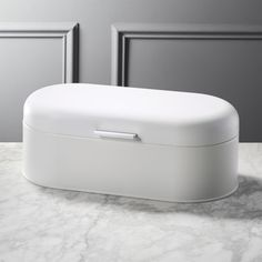 Shop Matte White Bread Box. Rectangular steel bread box curves round to keep loaves, bagels and rolls fresh. Finished cleanly in matte white powdercoat with a single silver handle for easy opening/closing. CB2 exclusive. Kitchen Organization, Kitchen Storage, Kitchen Drawers, Cupboards, Modern Bread Boxes, Rustic Bread Boxes, White Bread, Kitchen Colors, Kitchens