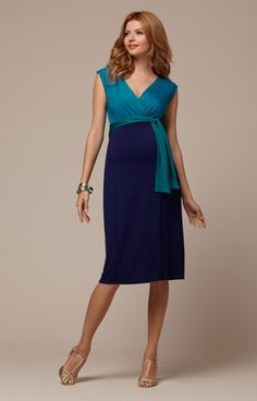 Jewel Block Maternity Dress Biscay Blue - Maternity Wedding Dresses, Evening Wear and Party Clothes by Tiffany Rose.