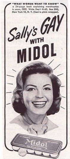 vintage midol ad - sally's gay with midol!