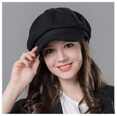 Fashion plain black newsboy cap for women beret wool hats winter wear | Buy cool cap,fashion hats on buyhathats.com