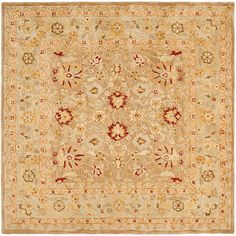 @Overstock.com - Handmade Ancestry Tan/ Ivory Wool Rug (8 Square) - Shades of red, gold, tan, and green are featured in this traditional handmade ivory wool rug. Dense, hand-tufted 100 percent wool pile gives you warmth and comfort and the pretty design brings an interesting theme to any living area decor.  http://www.overstock.com/Home-Garden/Handmade-Ancestry-Tan-Ivory-Wool-Rug-8-Square/4244217/product.html?CID=214117 ZAR              4842.40