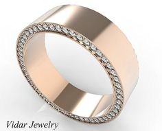 Rose Gold Morganite Men's Wedding Band,Unique Wedding Band For Mens,Diamond Wedding Ring For Men's,Wide Wedding Band by Vidarjewelry on Etsy