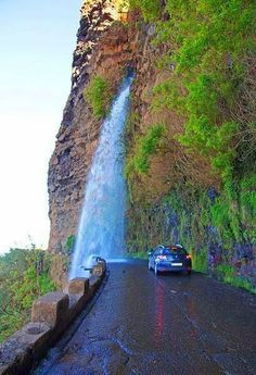 Drive down Waterfall Highway, Madeira island , Portugal Places Around The World, Oh The Places You'll Go, Places To Travel, Places To Visit, Around The Worlds, Tourist Places, Les Cascades, Beautiful Waterfalls, Wonders Of The World