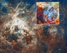 Doradus nebula - This is a Hubble Space Telescope image of a pair of star clusters that are believed to be in the early stages of colliding. The clusters lie in the gigantic 30 Doradus Nebula, which is 170,000 light-years from Earth. - Credit: NASA, ESA et al