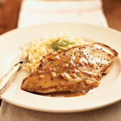 pan-roasted chicken cutlets with maple-mustard dill sauce from Cooking Light