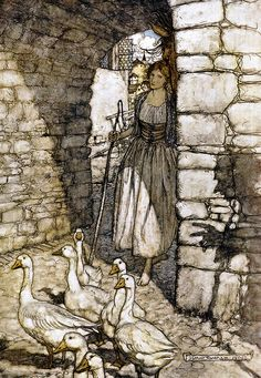 The Goose Girl. (Arthur Rackham - 1909    The Fairy Tales of the Brothers Grimm ~ 1909 ~ London: Constable and Company Ltd.)