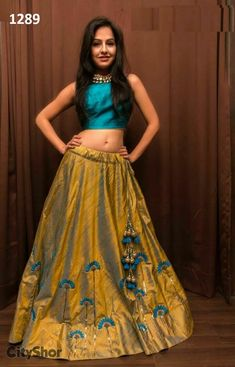 Cream And Sky Blue Metti Semistitched Lehenga Choli with a long top Indian Lehenga, Indian Gowns, Indian Attire, Lehenga Choli, Indian Wear, Indian Outfits, Blue Lehenga, Lehenga Blouse, Choli Designs