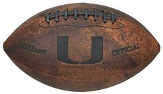 This NCAA Officially Licensed 9 inch Throwback Football is made of composite leather and features composite leather stitching and laser stamped NCAA team logo. Football holds two to four pounds of air