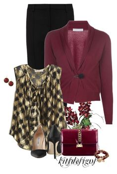 """Burgundy & Black"" by kitsdesigns ❤ liked on Polyvore featuring Jason Wu, FABIANA FILIPPI, Manolo Blahnik and Bee Charming"