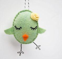 hand-embroidered felt - celery green - so cute!