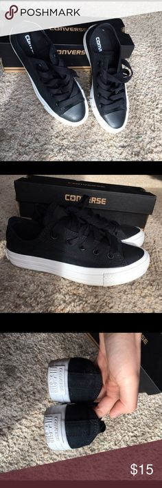 Converse Chuck Taylor OX Black Lace-up Shoes Pair the Chuck TaylorAll Star Leather Oxwith casual clothing.  *This is a unisex shoe Size 3 for men, Size 5 for women. In great great condition. Worn once. I love this pair. Only because it's not my size ;( Converse Shoes Sneakers