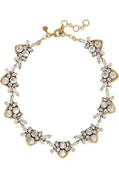 J.CrewNecklace with glass crystals and cubic zirconia with burnished gold-plated brass.