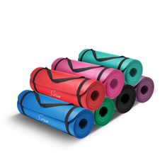 I found the original yoga mats to be too thin for my knees.  We searched online and found these extra thick ones.  These are a full half inch thick.  In addition to using these for exercise, we also noted the 71 in long mat fits perfectly on our camping cots too!  Picture: eBay affiliate link.