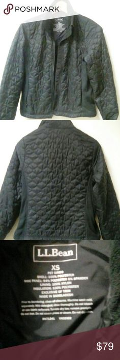 LL bean quilted jacket in black In great shape still and very warm. Pilling on the side panels and a few loose threads by the cuffs L.L. Bean Jackets & Coats Puffers