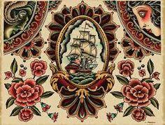 Resultado de imagem para vintage style tattoo sheet
