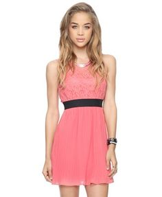 Pleated Lace Bodice Dress Coral   $24.80