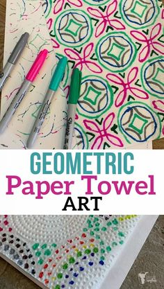 This geometric paper towel art activity will have your child busy and wanting more! The designs your child can create are endless! Each paper towel will look different. Great activity your child can do while you are reading aloud to them. Cardboard Paper, Cardboard Crafts, Cardboard Playhouse, Cardboard Furniture, Cardboard Fireplace, Fun Activities To Do, Simple Art, Easy Art, Paper Plate Crafts