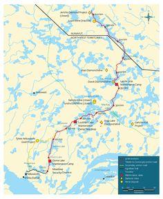 Map of the arctic ice road through Diavik